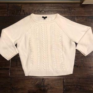 J Crew White Sz Medium 100% Cotton Sweater